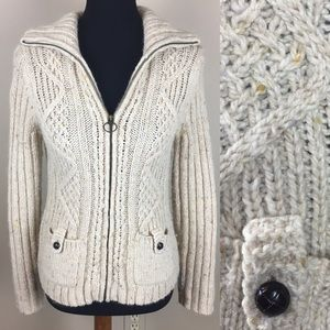 Loft zip front cable knit sweater size M petite